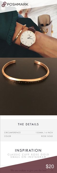 Daniel Wellington Rose Gold Cuff Only wore it once. And sorry no box for this one, I throw it away this bangle is perfect for everything! I love it sooo much, but I'm to skinny for this  100% authentic Daniel Wellington Accessories