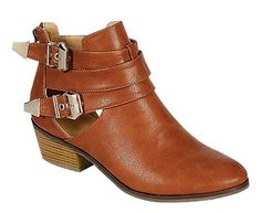 Reneeze BEAUTY-04 Womens Buckled Cut Out side design Booties - BROWN   Amazon.com