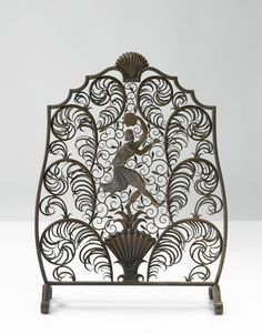 "EDGAR BRANDT ""DANSEUR"" FIRE SCREEN CA 1925"