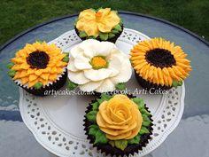 Pix For > Buttercream Flower Cupcakes