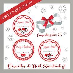 Etiquettes Noël - Joyeux Noël - Merry Christmas - chien - dog - sweetiedog -cadeaux - biscuits - moule - emporte-pièce - os