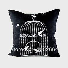 Zakka Vintage Decorative Black &White Bird Cage Print Throw Pillow Case Cushion Cover