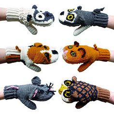 FABULOUSLY clever and super cute idea: Predator Vs Prey mittens (Sheep & Wolf/ Dog & Cat/ Mouse & Owl) these are crochet, but I think they can be modified for knitting. Crochet Baby Mittens, Crochet Baby Blanket Beginner, Crochet Gloves, Knit Mittens, Mitten Gloves, Baby Knitting, Knit Crochet, Marionette, Cat Mouse