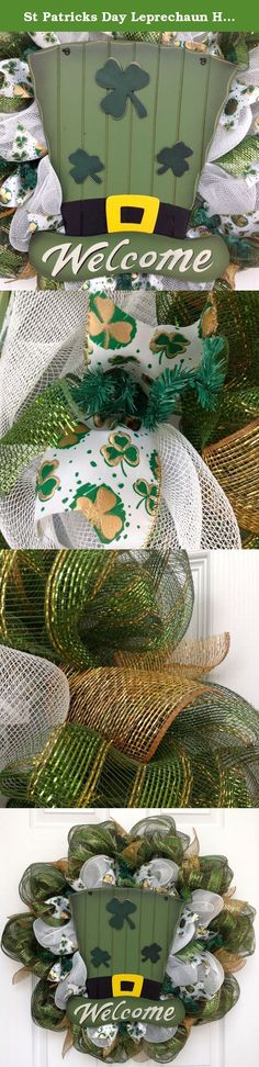 St Patricks Day Leprechaun Hat Handmade Deco Mesh Wreath. Gorgeous, full, premium St Patrick's Day handmade deco mesh wreath features a festive, large, wood St Patricks Day Leprechaun hat which rests on a bed of soft, bright white deco mesh. The hat is decorated with a gold buckle and shamrocks. Welcome is printed in large white letters. The inner ring has beautiful premium shamrock ribbons with gold accents and green metallic mesh ribbons. The outer ring is a shimmering metallic green…