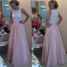Fashion a-line scoop long pink chiffon prom dress with white lace top