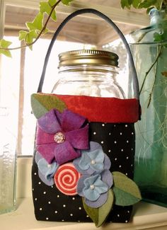 Fabric Quart Jar Container