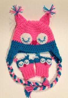 "Crochet Toddler owl hat and fingerless gloves. Becky's ""Threads of Grace""  https://www.facebook.com/BeckysThreadsOfGrace?ref=hl |Pinned from PinTo for iPad|"