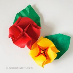 Post image for A Quick Origami Rose, a Variation and a Leaf –Three in One!