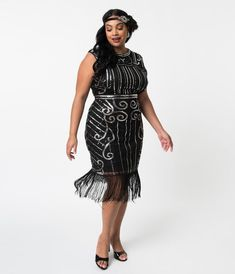 f899fa29b81 Unique Vintage Plus Size 1920s Style Black   Silver Beaded Avignon Flapper  Dress Plus Size Flapper