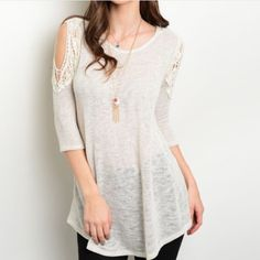 $FIRM$ IVORY COLD SHOULDER TOP Brand New! 3/4 Sleeve Ivory Top. This basic but fashionable piece features exposed shoulders with a crochet trim. Fabric content is 65% rayon and 31% polyester. Made in the USA 🇺🇸. Available in S,M, and L. Please no holds, trades or PP. Price is FIRM  unless bundled. PLEASE NOTE ALL CLOTHING ITEMS COME STRAIGHT FROM MY VENDOR. They are packaged in 6 and I separate them when they are sold. Thank you! Boutique Tops Tunics