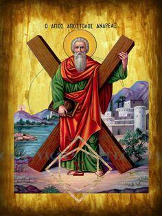 Αμαρτωλών Σωτηρία : Άγιο Ανδρέα τον Πρωτόκλητο Jesus Loves Me, Byzantine, Jesus Christ, Mosaic, Saints, Christian, Painting, Angels, Art