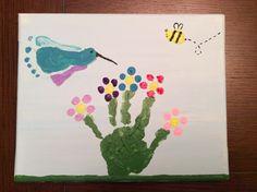 Flower handprint hummingbird footprint