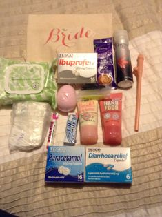 My DIY hen survival bag for the bride so far