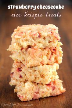 Skinny Strawberry Cheesecake Rice Krispie Treats