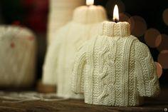 Свеча восковая - вязанный свитер. Свеча восковая в виде вязанного свитера.