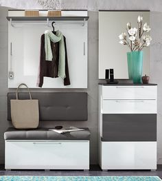 Garderobe weiss hochglanz/ grau Woody 22-00808