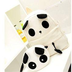 Canvas Cute Panda Pattern School Bag Women's Handbag Backpack