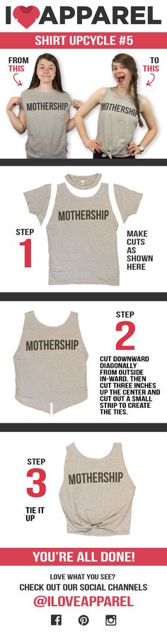 A fun way to transform a tee shirt into a summer friendly tank top with a delicate tie on the front! For more upcycle tutorials, follow our board here . https://www.pinterest.com/ILoveApparel/craft-corner/ #upcycle #teeshirt