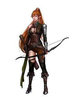 Female Elf Fighter Archer - Pathfinder PFRPG DND D&D d20 fantasy