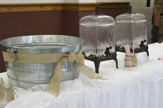 rustic wedding shower drink station, burlap and lace, pink straws