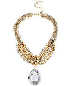 Steve Madden Two-Tone Crystal Teardrop Pendant Multi-Chain Necklace