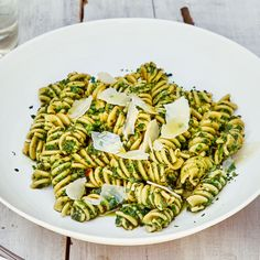This pasta recipe is a great way to use up any leftover herbs and greens in your fridge—use as many or as few as you'd like. Fusilli is an ideal magnet for the sauce. Fennel Pollen, Fava Beans, Pasta Shapes, Frozen Vegetables, Veggies, How To Cook Pasta, Pasta Recipes, Fusilli Recipes, Pasta