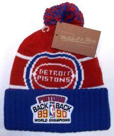 0ae380c17ab Mitchell   Ness Detroit Pistons 1989 1990 Champions Pom Cuff Hat