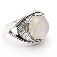 Anel de Prata com Pedra da Lua - 38286                              …
