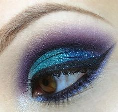 Turquoise, purple, blues and black eye make up
