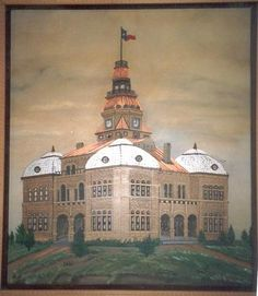 An oil painting of the original 1892 Archer County Courthouse in Archer City, Texas. Painting shows the courthouse before the clock tower was removed in 1926.