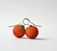 Big globe earrings orange