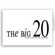 THE BIG 20 BIRTHDAY CARD Cant Believe I Turn Saturday
