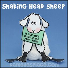 Sheep Shaking Head Bible Craft from www.daniellesplace.com