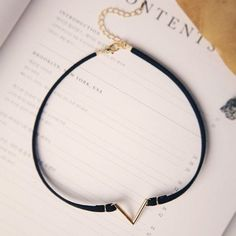 Bohemian V Choker - Silver or Gold and Suede
