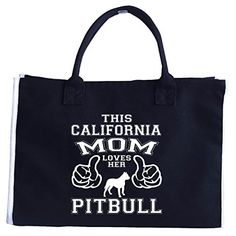 This California Mom Loves Her Pitbull Dog  Tote Bag >>> More info could be found at the image url. #XmasStorageOrganization