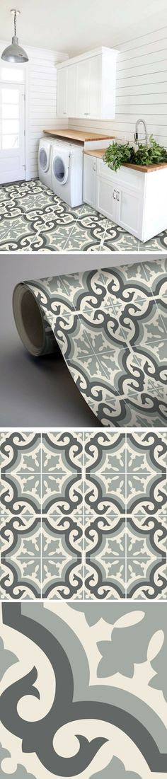 Carrelage adhésif imitation carreaux de ciment pour relooker la buanderie
