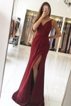 2019 Evening Dresses Mermaid V Neck With Ruffles, This dress could be custom made, there are no extra cost to do custom size and color Long Bridesmaid Dresses, Prom Dresses, Formal Dresses, Wedding Dresses, Make Your Own Dress, Mermaid Evening Dresses, Side Split, Satin Dresses, Special Occasion Dresses