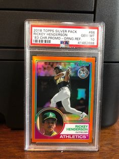2018 Topps Silver Pack Orange 17/25 Rickey Henderson Baseball Card #66 PSA 10 #PSA10 #sportscards #collecting Rickey Henderson, Trading Cards, Gem, Packing, Mint, Baseball Cards, Orange, Sports, Silver