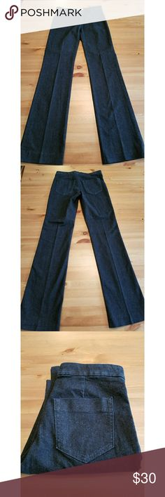 """Banana Republic Premium Denim Trouser Jean 26 Stunning pair of Banana Republic Premium Denim trouser jeans in size 26. Straight leg throughout with slight boot cut flare. Class back pocket styling with flat front. Exceptional condition. 93% cotton, 6% polyester. 41"""" long, 33"""" inseam, 8.5"""" rise, 15"""" across waist. No flaws and basically brand new. Banana Republic Jeans Boot Cut"""