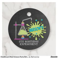 Chalkboard Mad Science Party #Birthday Favor Tags #favor #tags #favortags #thankyoutags #ad #madscience