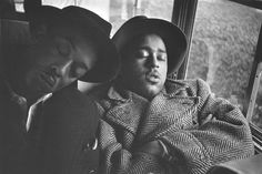 DANNY BARKER & DIZZY GILLESPIE  Catching a nap on a train  Cab Calloway band, 1940  Photo by Milt Hinton
