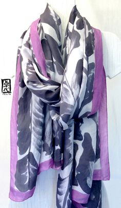 Hand Painted Silk Shawl scarf Large Silk by SilkScarvesTakuyo