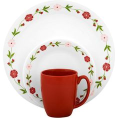 Corelle Livingware Spring Pink 16-Piece Dinnerware Set....these are what I want for our kitchen!!! I LOVE these!!