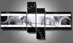Black and White Abstract Wall Canvas Art Sets Painting for Home Decoration 100 Hand Painted Oil Painting Modern Art Large Canvas Wall Art 4 Piece Canvas Art Unstretch and No Frame -- To view further for this item, visit the image link.