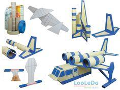 Faça Você Mesmo - Avião de brinquedo com material reciclado Recycled Toys, Recycled Crafts, Art N Craft, Toy Craft, Milk Carton Crafts, Diy For Kids, Crafts For Kids, Toys From Trash, Transportation Crafts