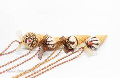 Ice-cream necklace / kawaii miniature food jewelry / fimo mini food sundae / handmade polymer clay pendant. © Mini Art Gallery