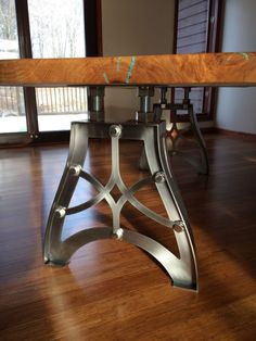 vintage industrial steampunk metal finished table legs fully polished