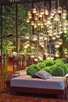 outdoor space with glass orb lighting