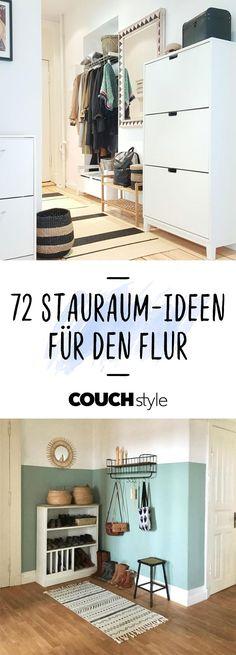 Wir zeigen euch 72 praktische Stauraum-Ideen für den Flur. Mit unseren Einrichtungstipps für die Garderobe schafft ihr ordentlich Platz!