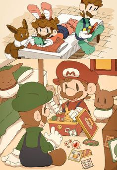 Mario and Luigi are playing. by Uroad7 by Uroad7.deviantart.com on @DeviantArt
